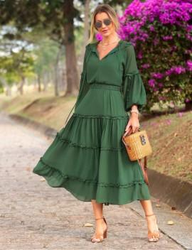 Vestido Chifon Franzido Luzia Fazzolli