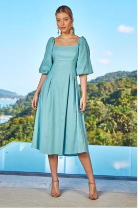 Vestido Linho Louise Azul Zen