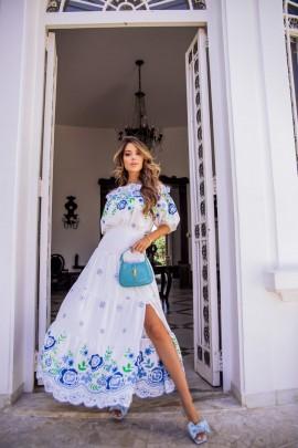 Natalia Vestido Off Tons de Azuis Marie Mercié