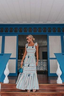Vestido Listrado Cila Azul Blessed Store