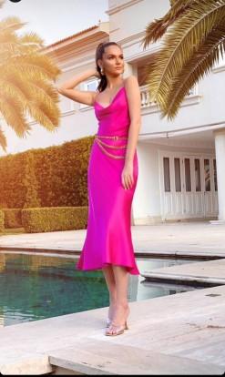 Vestido Pink Seda Carol Arantes