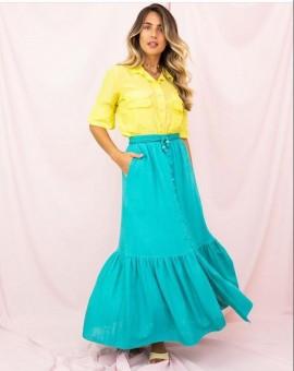Camisa Seda Amarela Aquarella