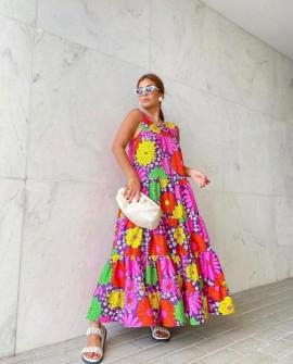 Vestido Longo Floral Roxo Bardoh