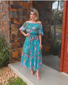 Vestido Chif Floral Luzia Fazzolli