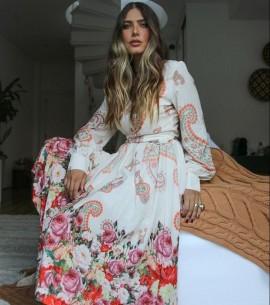 Vestido Crepe Pregas Cashemere Luzia Fazzolli