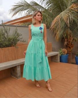 Vestido Tricoline Laço Luzia Fazzolli