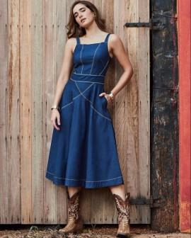 Vestido Jeans Detalhes Luzia Fazzolli